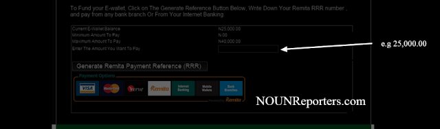 Make Payment on Remita via NOUN Portal - Enter the Amount you want to Pay