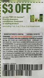 3/2 Garnier Fructis shampoo, conditioner, treatment, or styling product ets, 12/9 RMN, exp. 12/22/2018