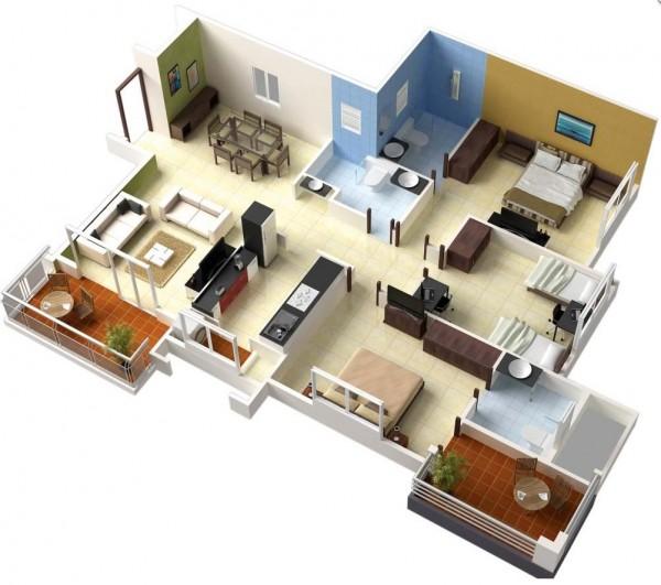 Denah Desain Rumah Mewah Modern 3D