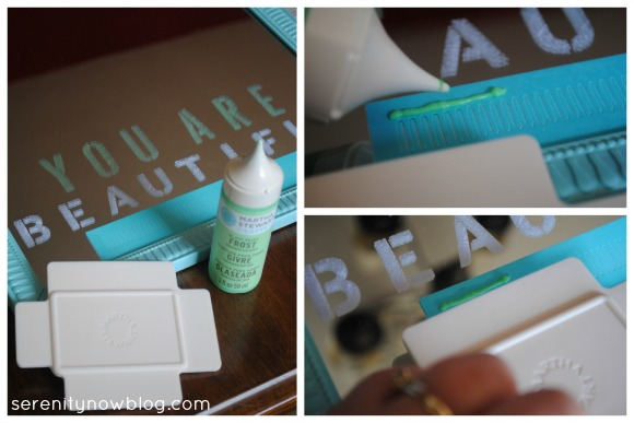How to Use an Adhesive Silkscreen with the Martha Stewart Crafts glass paint line, from Serenity Now blog