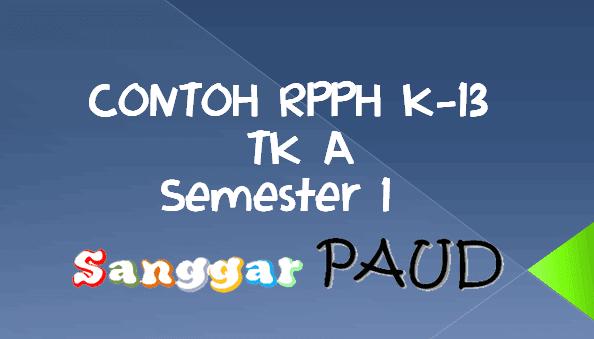 RPPH K-13 PAUD  TK- A Tema Lingkunganku Subtema Rumahku