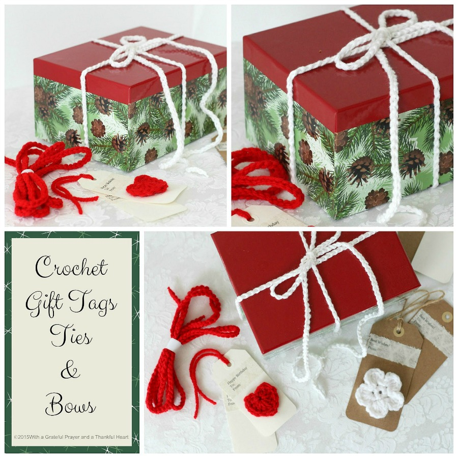 Crochet Gift Tags, Ties & Bows | Grateful Prayer | Thankful Heart