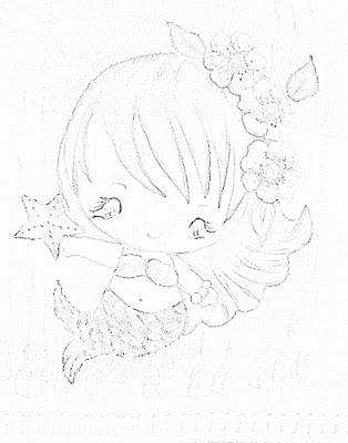pintura em tecido infantil fralda bebe menina risco sereia
