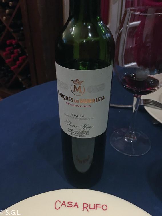 Vino Rioja Marques de Murrieta. Casa Rufo