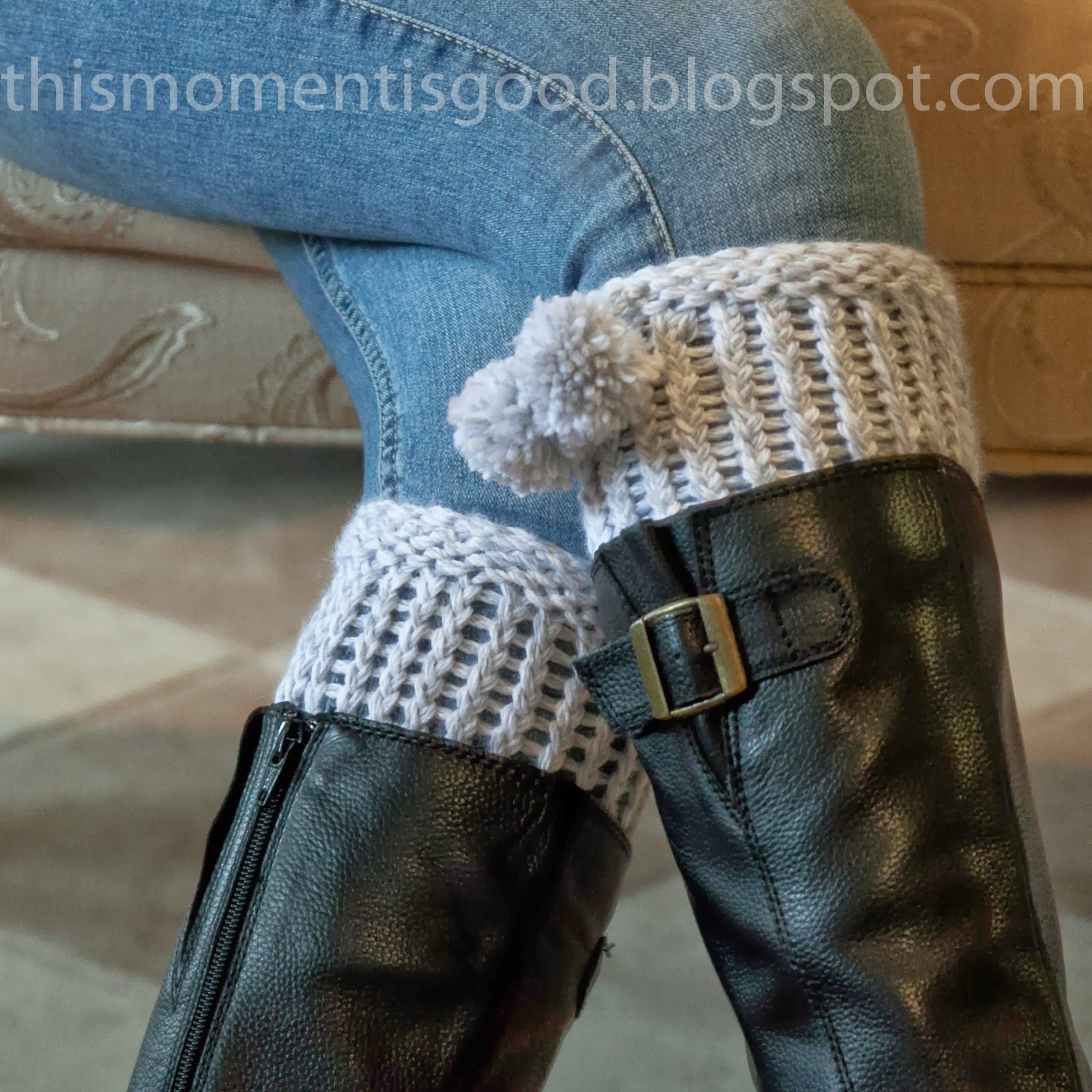LOOM KNIT BOOT CUFF | Loom Knitting by This Moment is Good!