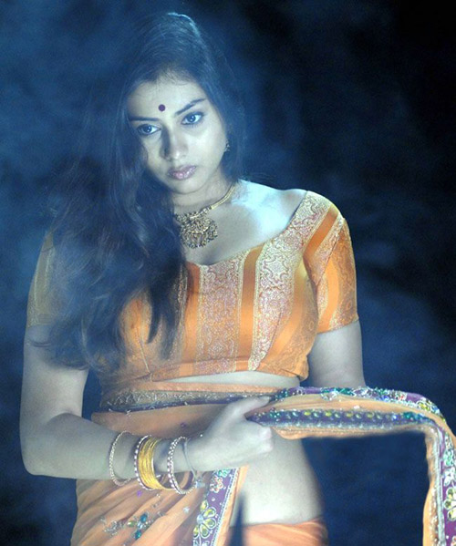 Namitha Looking Hot in Orange Saree