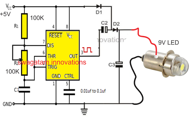 IC 555 voltage doubler circuit with LED