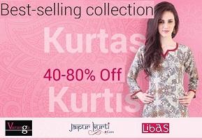 Kurtas and Kurtis – 40%- 80% Off starts from 225 @ Flipkart