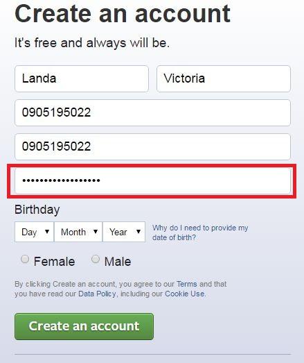 enter password create facebook acount