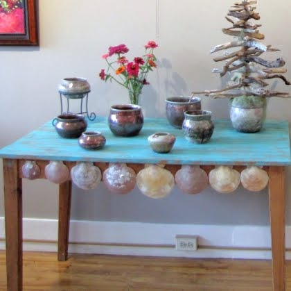 coastal table makeover with shells