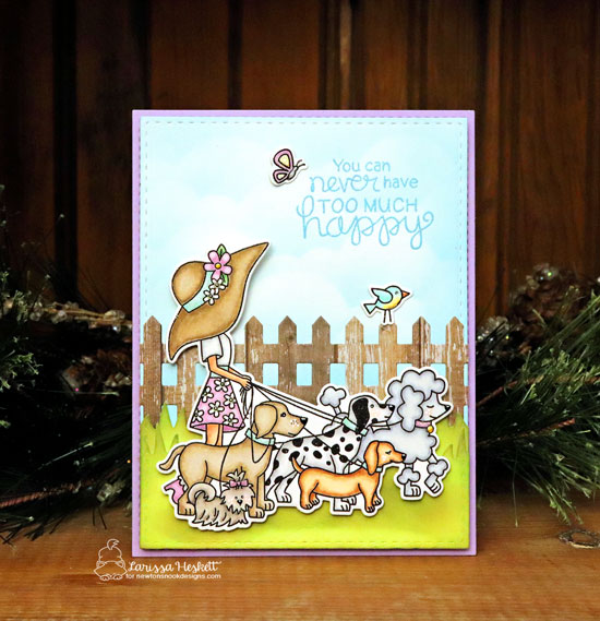 Happy Dog Walker Card by Larissa Heskett | Walking Woofs Stamp Set, Fence Die Set and Land Borders Die Set by Newton's Nook Designs #newtonsnook #handmad