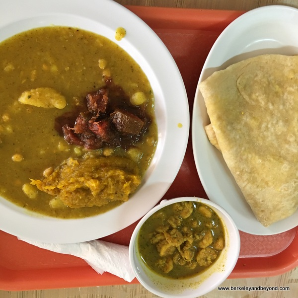 veggie curry at Highway Roti Shop in Freeport, Trinidad