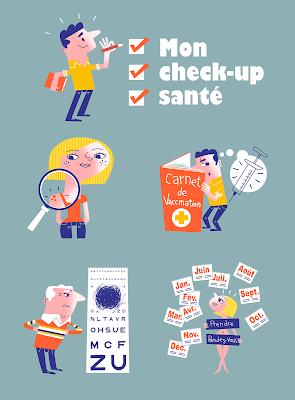 Clod illustration quiz check-up santé pour la Mutualité Française