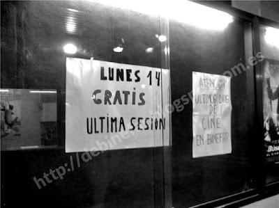 Cartelera Cine La PAz Enero 2008. Ultimas Sesiones. Fotografía cedida desde hemeroteca privada