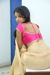 Bhavya Shri looks super cute in lovely Beigh Saree and Matching Pink Blouse Open Hairstyle So cute