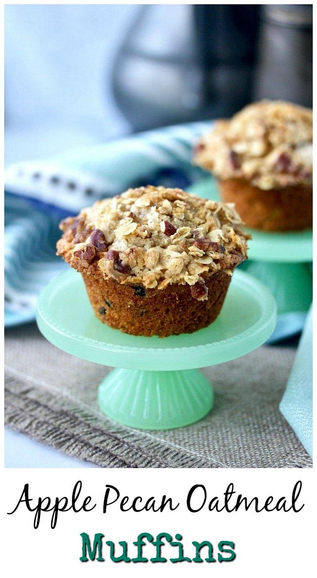 Small batch Apple Pecan Oatmeal muffins #oatmeal #muffins #smallbatch