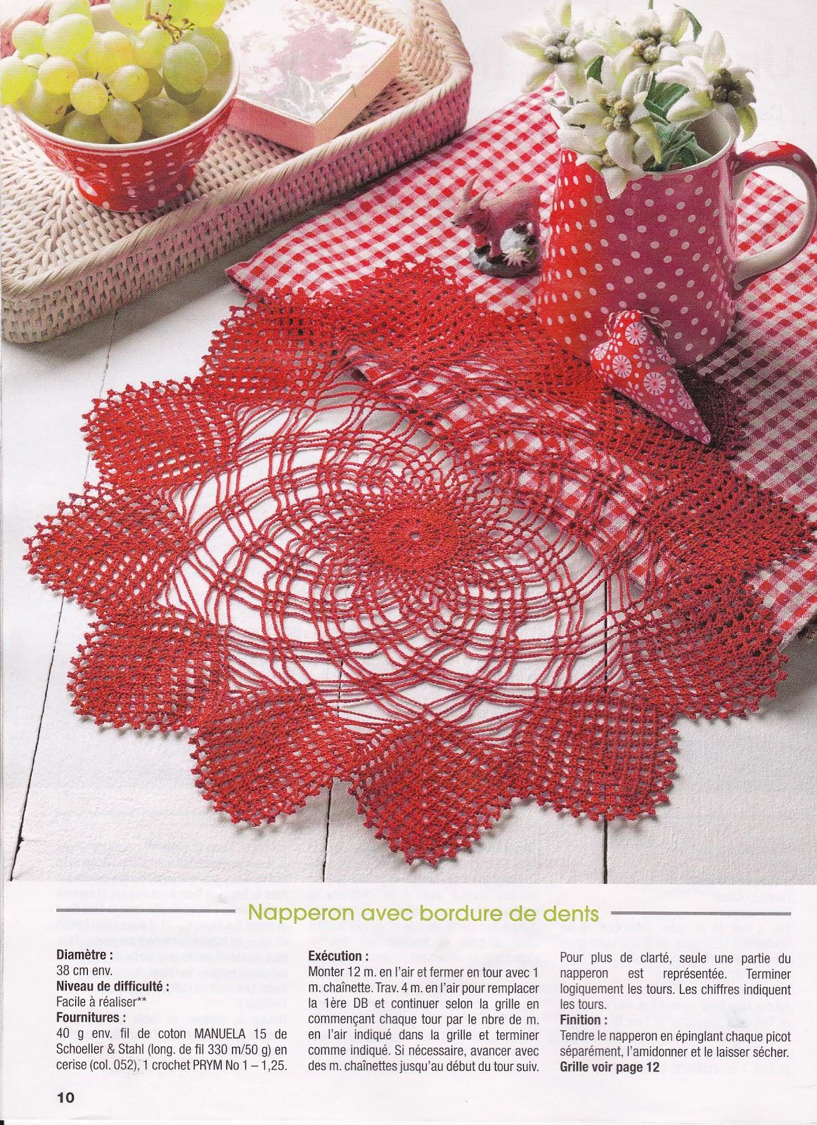 Créations Crochet Napperon Rouge