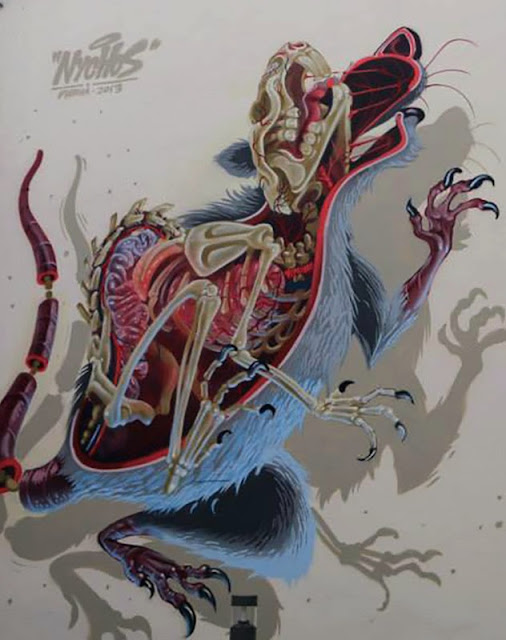 """""""Anatomy of a Snakebait / Rat"""" New Street Art Mural By Austrian Urban Artist Nychos on the streets of Vienna. 2"""