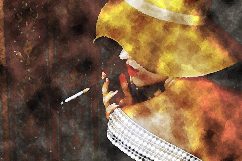 水彩画のタバコを吸う女性
