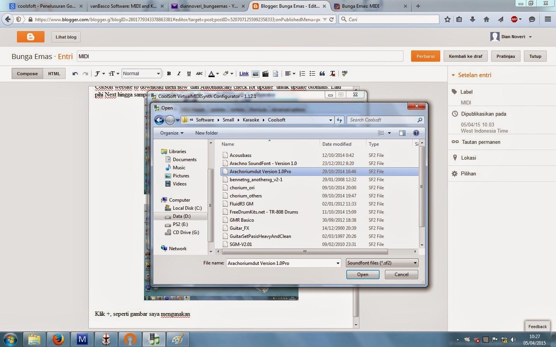 Bunga Emas: Instal dan konfigurasi VirtualMMIDISynth dan