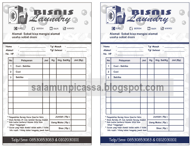 Download Template Desain Nota Laundry Cdr Salamun Picassa