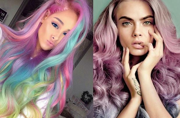 ariana grande pastel rainbow hair