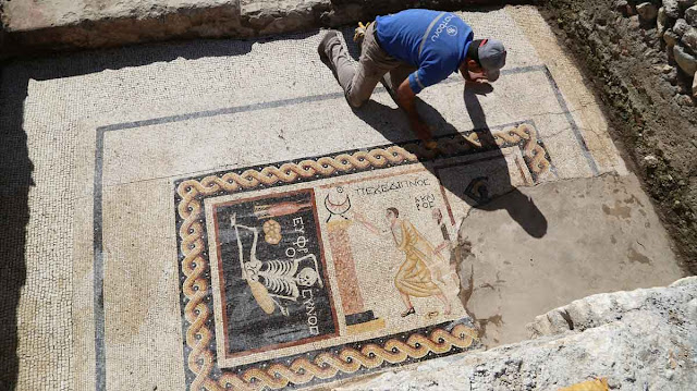 Greek mosaic of 'cheerful' skeleton found in Turkey