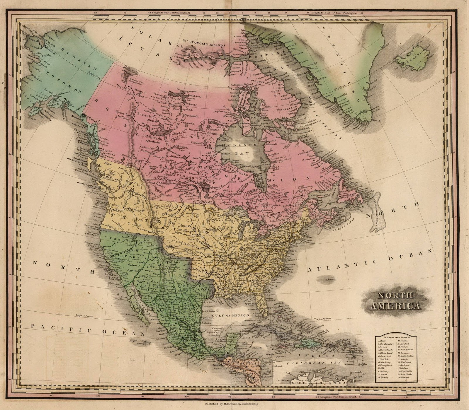 Atlas of North America that shows British Columbia (then apart of the Oregon Country) as an American possession (1826)