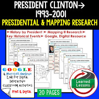 President Clinton, American History Research Graphic Organizers, American History Map Activities, American History Digital Interactive Notebook, American History Presidential Research, American History Summer School