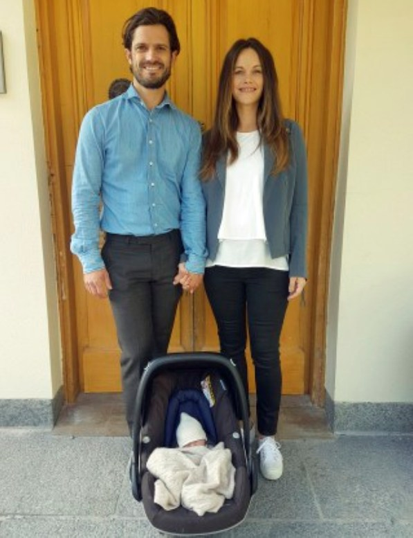 Prince Carl Philip and Princess Sofia back home at Villa Solbacken with their new little bundle of joy