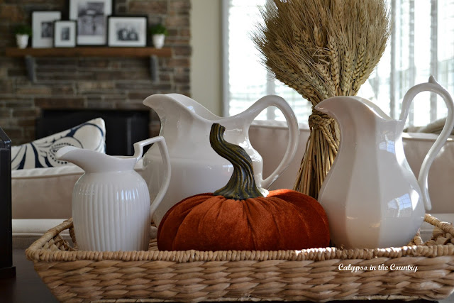 White Pitchers and Orange Pumpkin Vignette