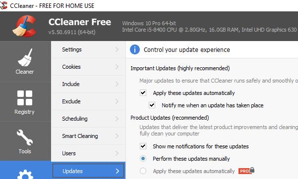 يقدم الإصدار CCleaner 5.50 إعدادات جديدة للتحكم في تحديثات البرنامج