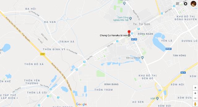 Bản đồ vị trí chung cư Hanaka Từ Sơn