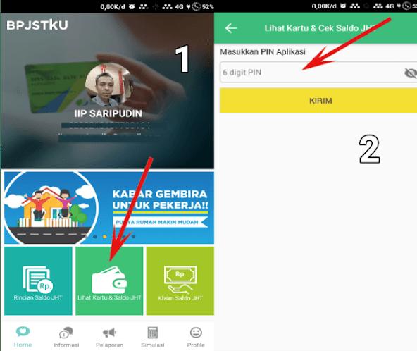 tombol tambah KPJ adanya di fitur lihat kartu dan saldo JHT aplikasi bpjstku