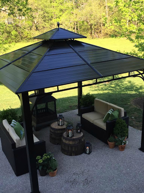 Metal gazebo with sitting area