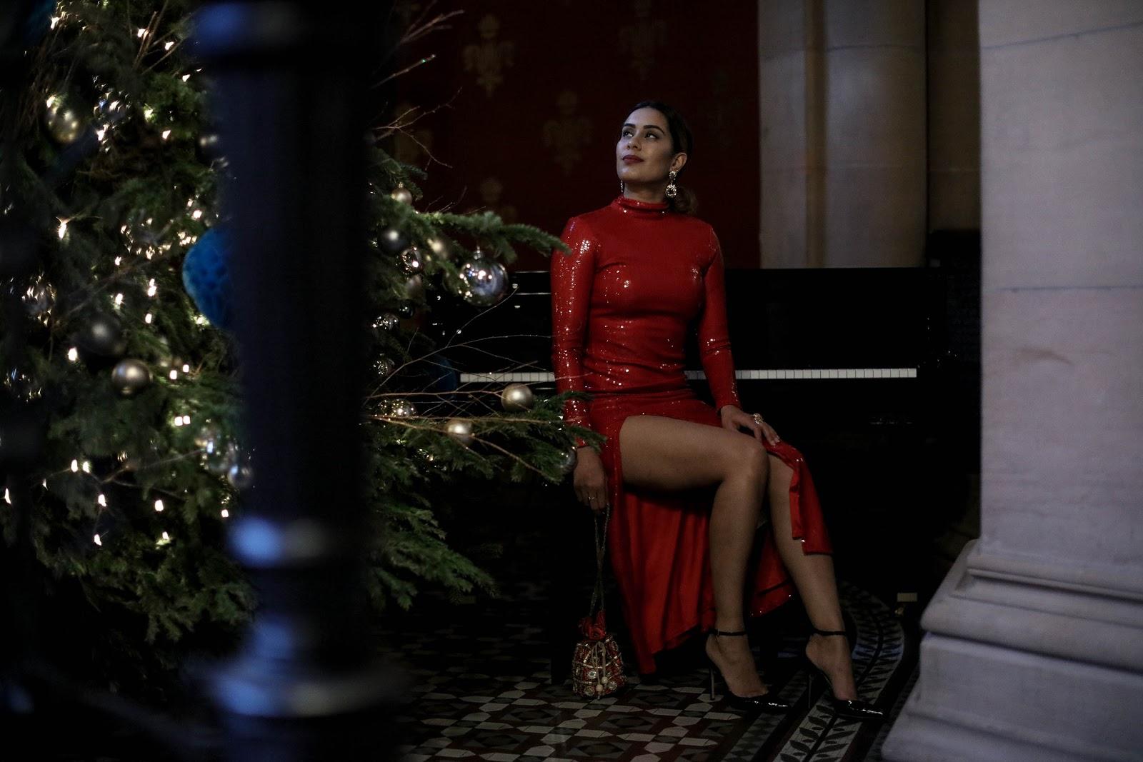 Reena Rai wearing Ashish x Warehouse red sequin dress for Christmas