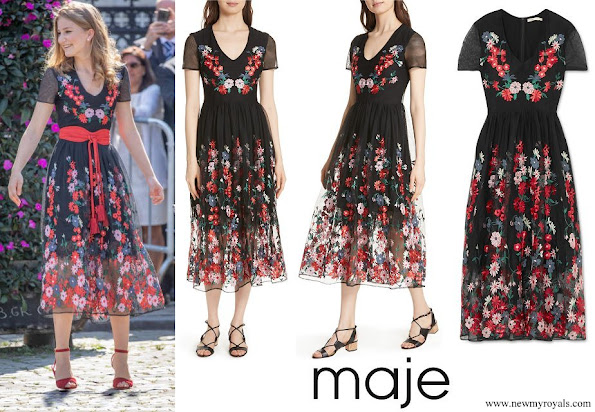 Crown-Princess Elisabeth wore MAJE Raphael embroidered tulle midi dress