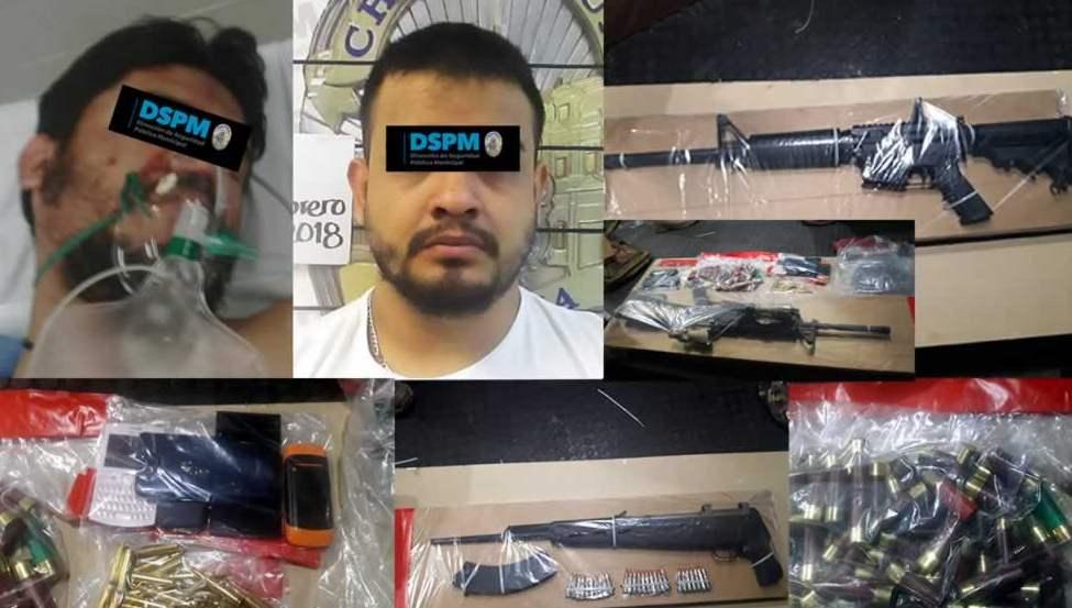 Caen dos sicarios y les aseguran equipo táctico, armas y cartuchos tras emboscar a policías