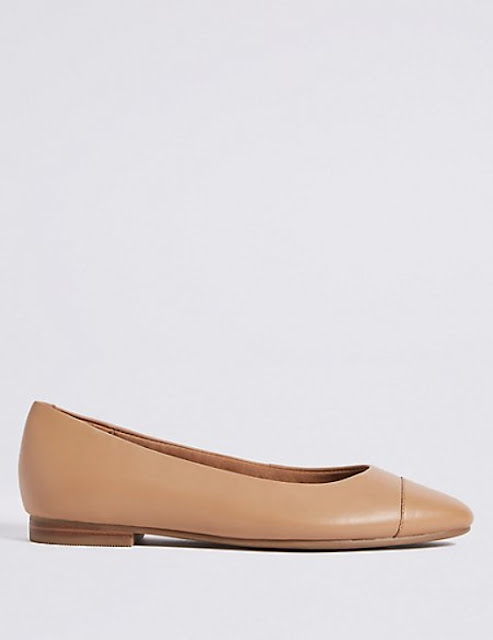 marks and spencer leather almond toe pumps