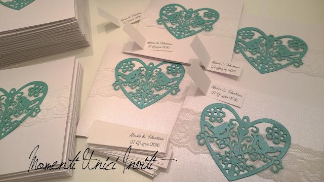 va1 Le partecipazioni di Valentina e AlessioColore Bianco Colore Tiffany Partecipazioni intagliate Partecipazioni Pizzo pizzo