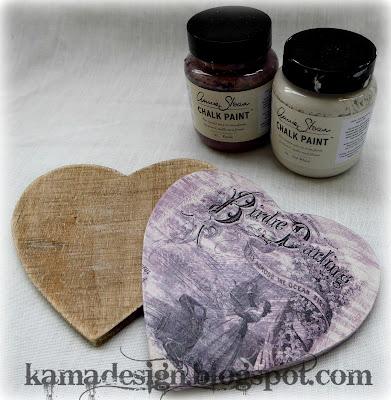 Chalk paint birdie heart