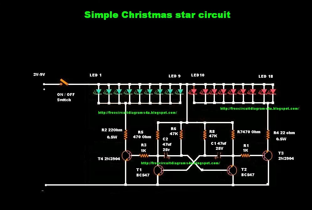 free circuit diagrams 4u simple christmas star circuit. Black Bedroom Furniture Sets. Home Design Ideas