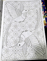 Adult Coloring Book ying-yang humming birds scene stained glass design