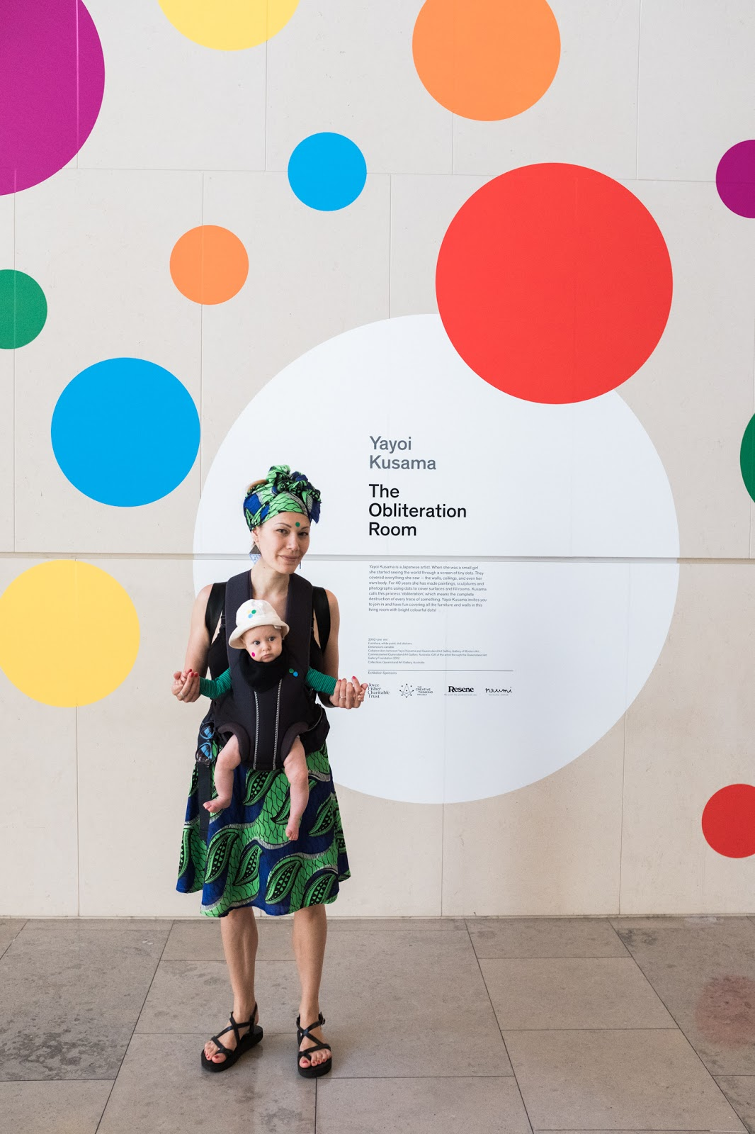 Build up of dots in a dizzying array of color as visitors apply colored stickers to every surface we as co artists will definitely remember this joyful