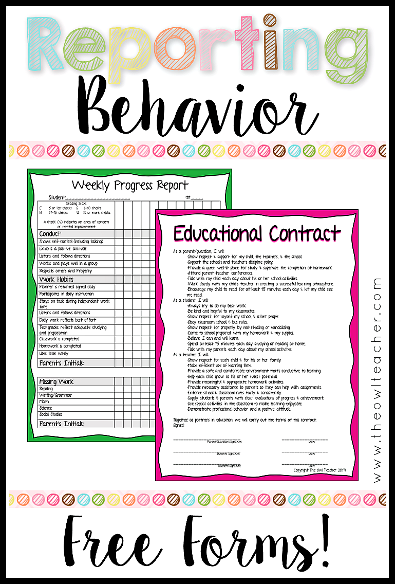 reporting behavior in the classroom the owl teacher
