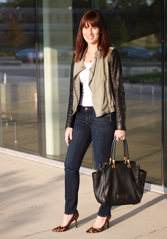 leopard pumps, moto jacket, what to wear fall, style, nordstrom, nine west, outfit of the day