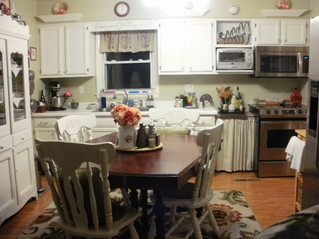 Wide angle of newly painted kitchen
