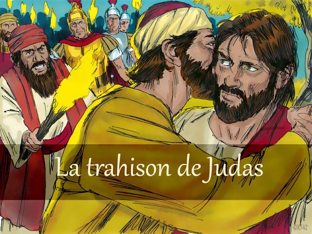 Judas trahit Jésus : diaporama, jeux et visuels