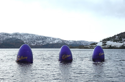 Giant Cadbury Loch Ness Monster purple eggs