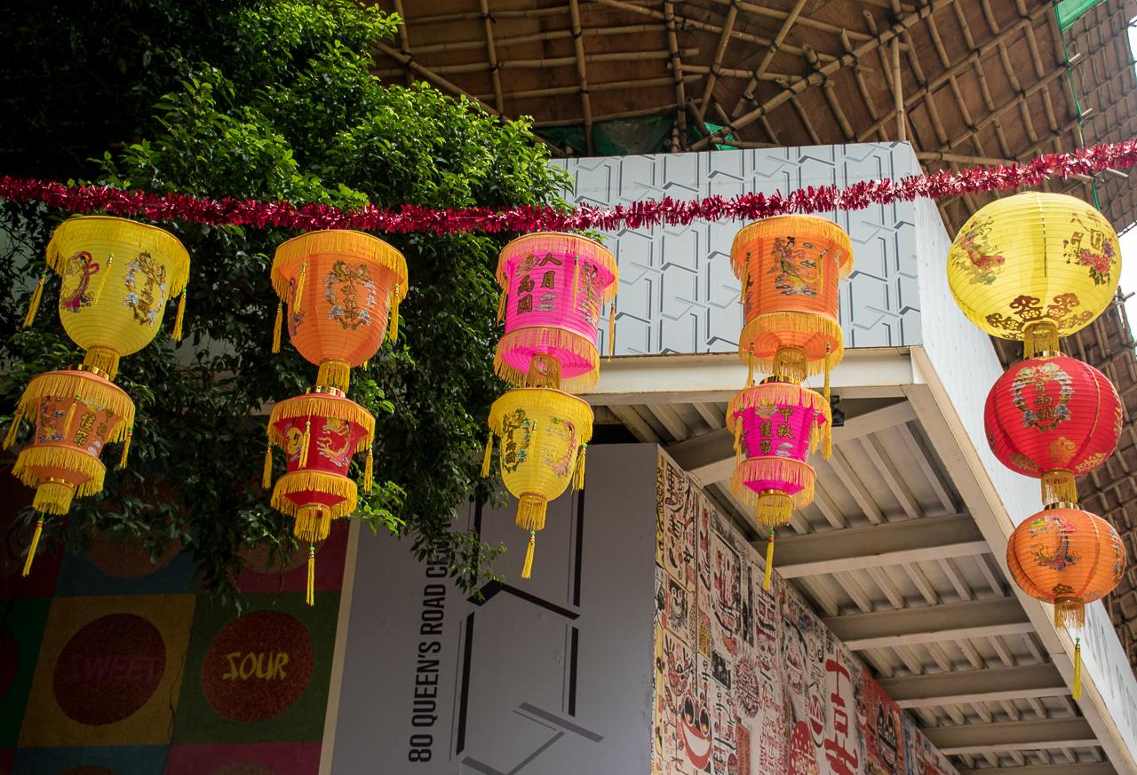 hong kong streets decoration, colorful lanterns